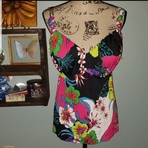 New Lane Bryant Bright Tropical Floral Tankini Top